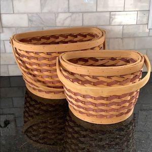 Red and tan baskets, excellent condition, like new